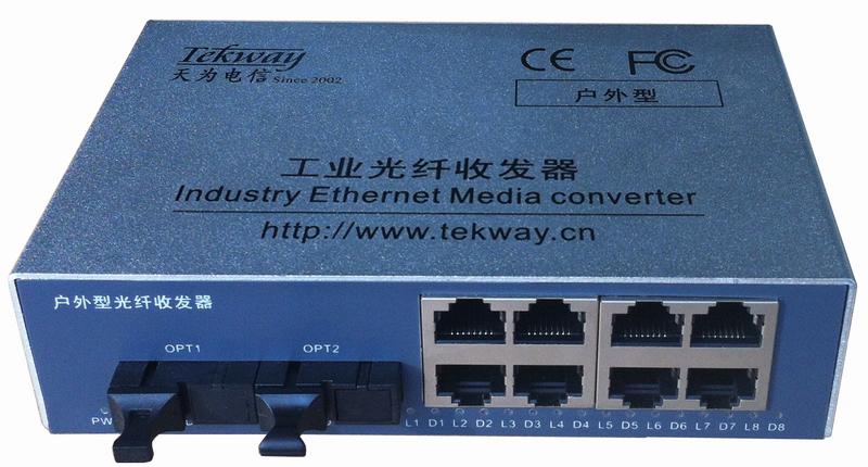 千兆2光8电户外型光纤收发器/交换机
