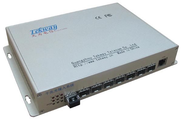 8路千兆汇聚光纤交换机/8口光纤汇聚交换机
